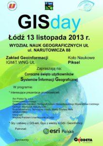 Plakat z agendą GISday, 13 listopada 2013, Łódź