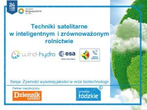 """Kongres Biogospodarki, slajd tytułowy """"Techniki satelitarne w inteligentnym i zrównoważonym rolnictwie"""""""