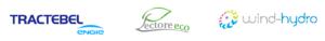 logotypy firm: Tractebel, Pectore eco, Wind-Hydro