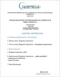 agenda spotkania Copernicus