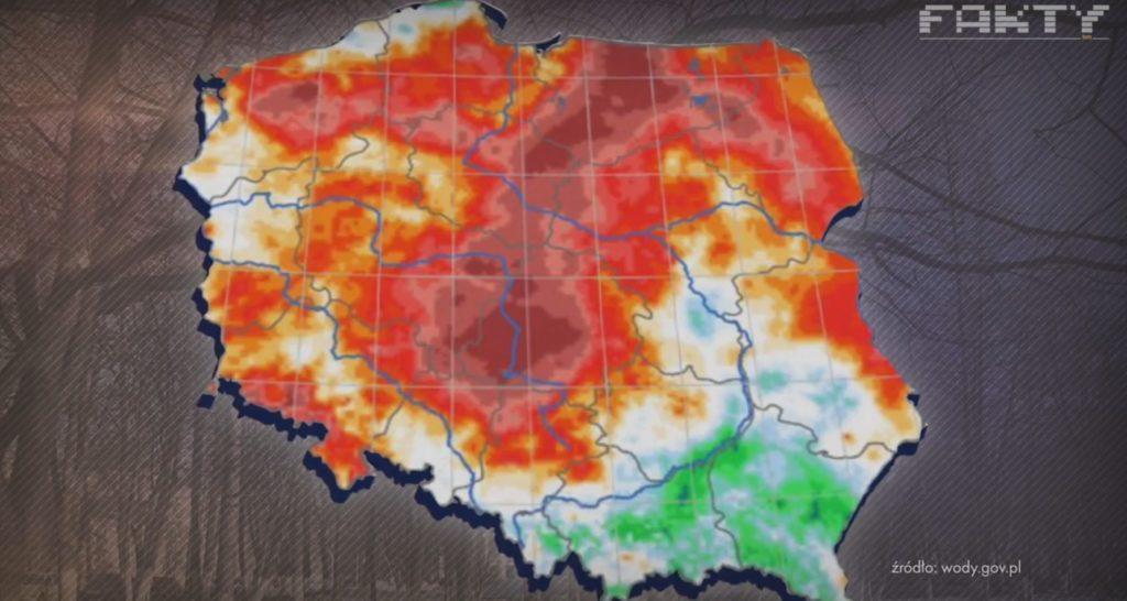 Na mapie Polski na czerwono oznaczono obszary z deficytem opadów- wskaźnik SPI3, TVN24, źródło danych www.wody.gov.pl