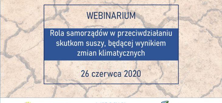 Zaproszenie na webinarium przeciwdziałanie skutkom suszy a samorząd