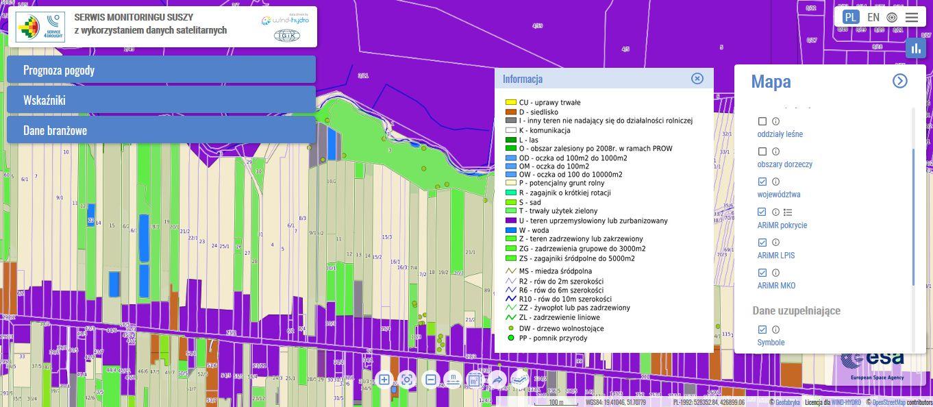 serwis monitoringu suszy esusza.pl mapa