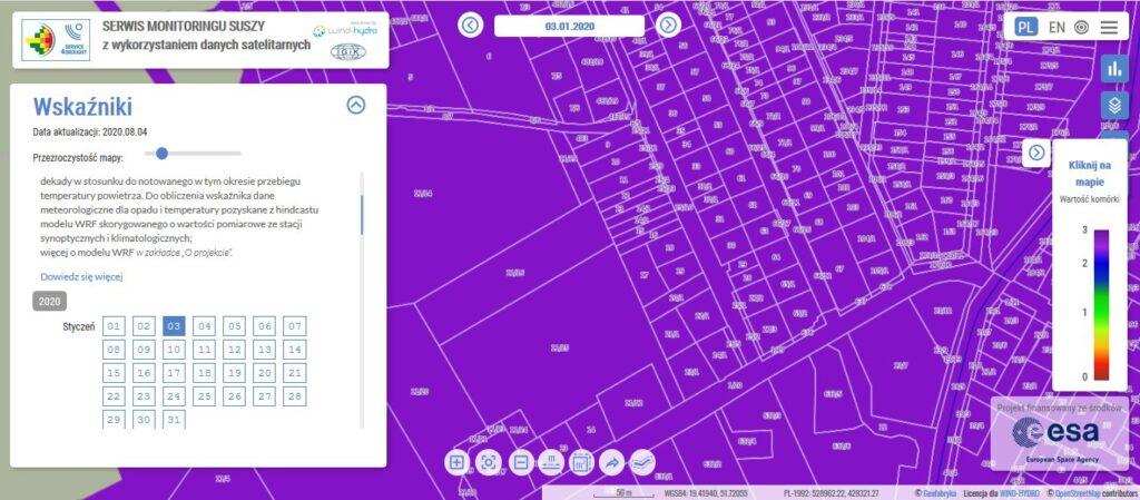 serwis monitoringu suszy funkcja lokalizacji na mapie