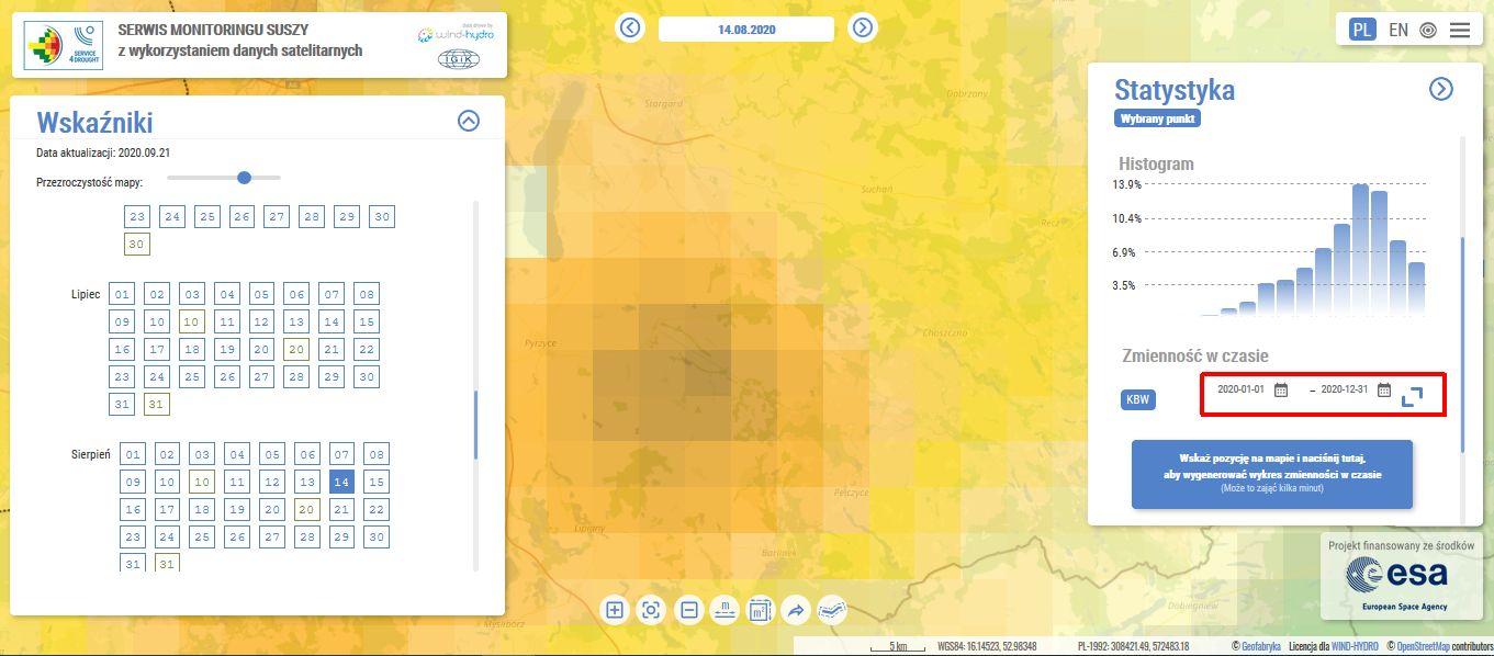 serwis monitoringu suszy esusza.pl wskaźnik KBW