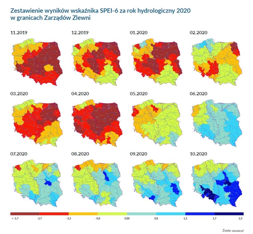 wskaźnik SPEI za 2020 stop suszy, esusza.pl